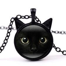 Retro Steampunk Cat Face Photo Cabochon Glass Bronze Pendant Long Chain Necklace