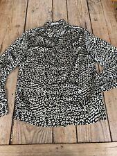 Beautiful CERISE BLUE Black & White Leopard Print Silky Blouse SHIRT, Small