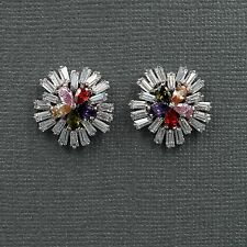 18K White Gold Plated Cubic Zirconia CZ Flower Wedding Bridal Stud earrings 8185