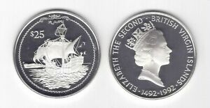 BRITISH VIRGIN ISLANDS SILVER PROOF 25$ COIN 1992 YEAR KM#128 SHIP COLUMBUS