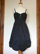 Vestido De Noche Bcbg Maxazria Negro con Apliques con cuentas Acanalada Talla 2, App 8