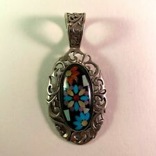 Carolyn Pollack Floral Pendant Turquoise Coral Onyx Inlay Sterling Silver