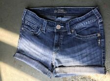 DARK WASH SILVER JEAN SHORTS BUCKLE 29 W15 HEMMED PROFESSIONALLY VERY NICE 👌💗