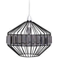 Norton Industrial Black Cage Frame Clear Jewel Ceiling Easy Fit Light Shade