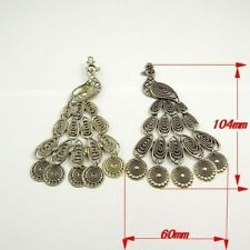 4X Vintage Style Antique Bronze Tone Fashion Peacock Pendant Charms 104*60*5mm