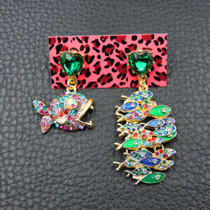 New Betsey Johnson Rare Alloy Rhinestone Fish Drop Earrings Fashion Jewelry