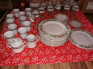 49 pc Domestications 12 Days of Christmas Dinner Plates Saucers Teacup  set