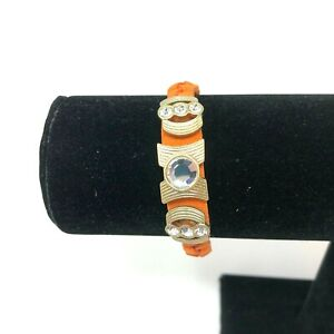 "Lia Sophia Bracelet Gold Crystals Orange Leather Braided Band Accomplice 7"""