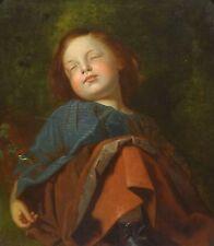 Fine Large 19th Century Pre-Raphaelite Girl Child Sleeping Antique Oil Painting