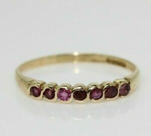9ct Yellow Gold 0.15ct Ruby Eternity Ring Size O 1/2, US 7 1/4