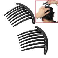 2Pcs Women Girls Black Plastic Side Clip Comb French Twist Hair Accessory Gift