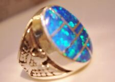 HUGE Fire Opal mens ring 8 Blue Green Silver 925 Thunderbirds Sterling 925
