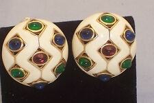 Vtg. CINER  Enamel Gilt Metal Clip-On Earrings w/Red Green & Blue Cabochons