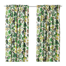 Ikea Syssan Curtains 1 Pair White Green 2 Panels New