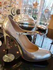 EVITA Pumps Sandaletten Peeptoes Silber ECHT Leder  Gr. 42 Neu