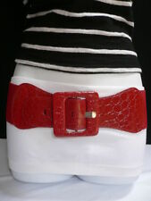 "NEW WOMEN ELASTIC RED FASHION BELT HIP HIGH WAIST SQUARE BUCKLE 26""-40"" XS-XL"
