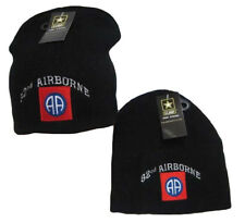 """8"""" U.S. 82nd Airborne Army Military Black Embroidered Beanie Skull Cap Hat 627"""