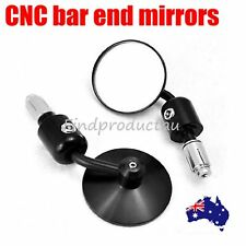 """Black Aluminum Rearview 3"""" Handle Bar End 7/8"""" Side Mirrors Round Motorcycle CNC"""