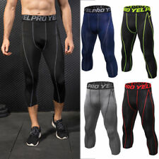Men's Compression Capri Sports Tights Running Basketball Tight 3/4 Pants fit