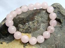 Women Natural Gemstone Bracelet Rose Quartz 10mm beads stretchable elasticated