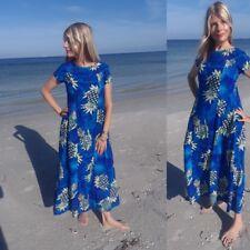 3fbfaad80ee 60s Vintage Island Fashions Small Blue Hawaiian Polynesian Floral Maxi Dress