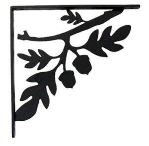 "Wall Shelf Bracket Pair Of 2 Oak Leaf & Acorn Wrought Iron 7.25"" L Crafting"