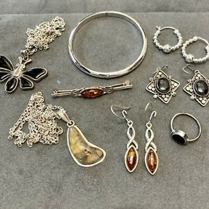 Amber And Whitby Jet sterling silver 925 jewellery joblot 4
