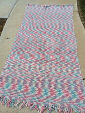 Vintage Hand Crochet Blue, Pink, And Creamy White Afghan With Fringe