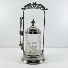 Vintage Silver Plate Pickle Caster w/Tongs Cane Pattern