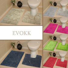 EVOKK Bath Mats 100% Cotton Anti-Slip Rugs Bathroom 2pc Absorbent/Washable Set