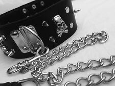 UK MEN WOMEN DOG SLAVE NECK COLLAR WITH LEAD LEASH SPIKED SLAVE KINKY SEXY KDC