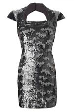 FRENCH CONNECTION FCUK SILVER FOREST GREY PEWTER SEQUIN SHIFT DRESS 12 40 BNWT