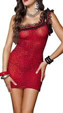 Women Sexy Red One Shoulder Leopard Velvet Babydoll Lingerie Chemise Negligees