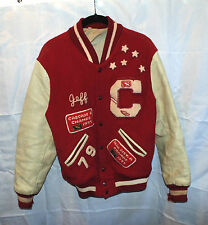 Vintage 1977-1979 Red C Leather Wool Letterman Jacket Coat 40 Patches Jeff 77 79
