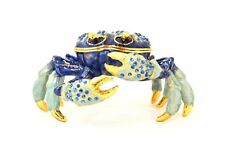 Jeweled Blue Crab Hinged  Trinket Box by Ceil Collectables, Austrian Crystal