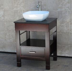 "24"" Bathroom Vanity 24-inch Cabinet Black Top Vessel Sink Faucet CG1"