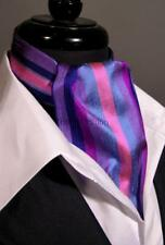 Modern Day Silk Ascot Cravat Tie Multi Purple Stripe