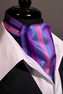 Modern Day Silk Ascot Cravat Tie Multi Purple Stripe Extra Long