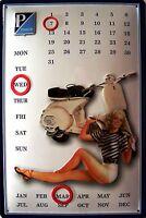 Vespa Piaggio Pin Up Kalender Blechschild Schild 3D geprägt Tin Sign 20 x 30 cm