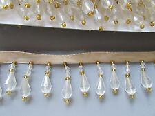 Crema / Oro Con Perline Frange / Finitura Cucito / costumi / artigianato / corsetry