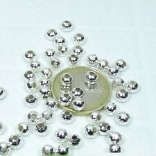 T91 round Balls Plated Spacer Argento 260 Beads round 0 3/16in Silver