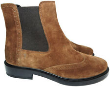$675 Tod's Quarter-Brogue Chelsea Boots Flat Ankle Gored Booties 6 New