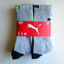 Puma Mens Sport Crew Socks 6 Pairs Grey Color Sock Size 10-13 ShoeSize 6-12