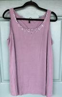 Eileen Fisher Women's Large Light Purple Tank Top Blouse 100% Silk Embellished