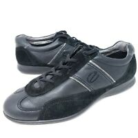 ECCO Women's Flats Black Leather Suede Sneakers Lace Up Comfort Shoes 10.5 / 41