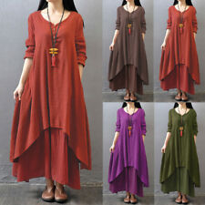 ZANZEA Women Vintage Boho Maxi Kaftan Summer Party Beach Plus Size Long Dress