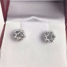 Diamond Invisible Set Earrings 14K White Gold 0.74 Carat t.w. Made in The USA