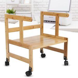 Desktop Printer Stand Wood File Drawer Office Supplie Storage with Wheels