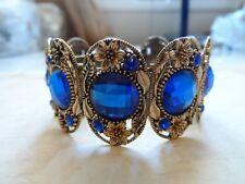 Breathtaking Gold Blue Rhinestone Flower Wide Cuff Bracelet 33.8 Grams