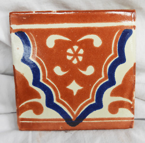 Hand Made & Painted Glazed Spanish Terracotta Tile - Border Tile